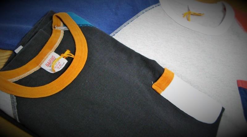 BARNS ラグランクルークレイジーパターンTシャツ入荷