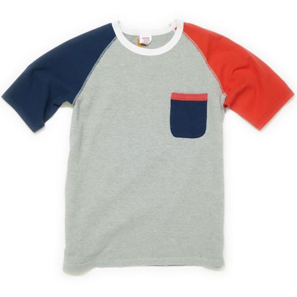 BARNS ラグランクルークレイジーパターンTシャツ(グレーベース)